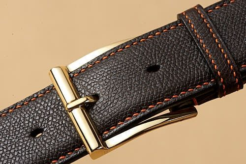 Dark Brown Grained Calf with Brass Aspley with Orange Lin Cable Stitching